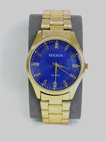 Men's Sekhon Gold Tone Stainless Steel Quartz Watch (240475F)