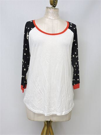 Ladies' Express White T-Shirt with Starry Sleeves - Size L (234956L)