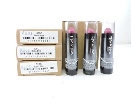 """(12) Wet n' Wild 526C """"Retro Pink"""" Lipsticks (242856L)"""