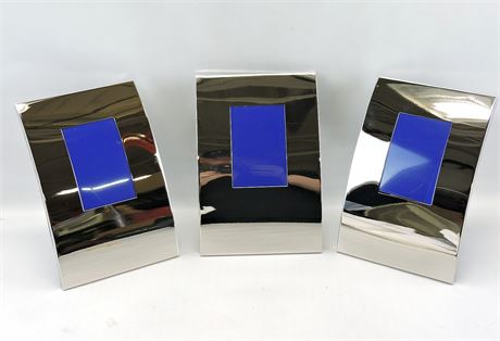 (3) Polished Silver Tone Curved Standing Picture Frames (231864H)