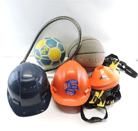 Lot of Assorted Household Items - Hard Hats/Balls/Bike Lock/More  (240739H)