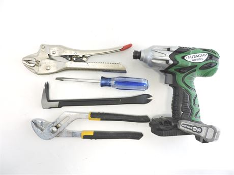 Lot of Assorted Used Tools - Drill/Wrench/Nail Puller/More (238649A)